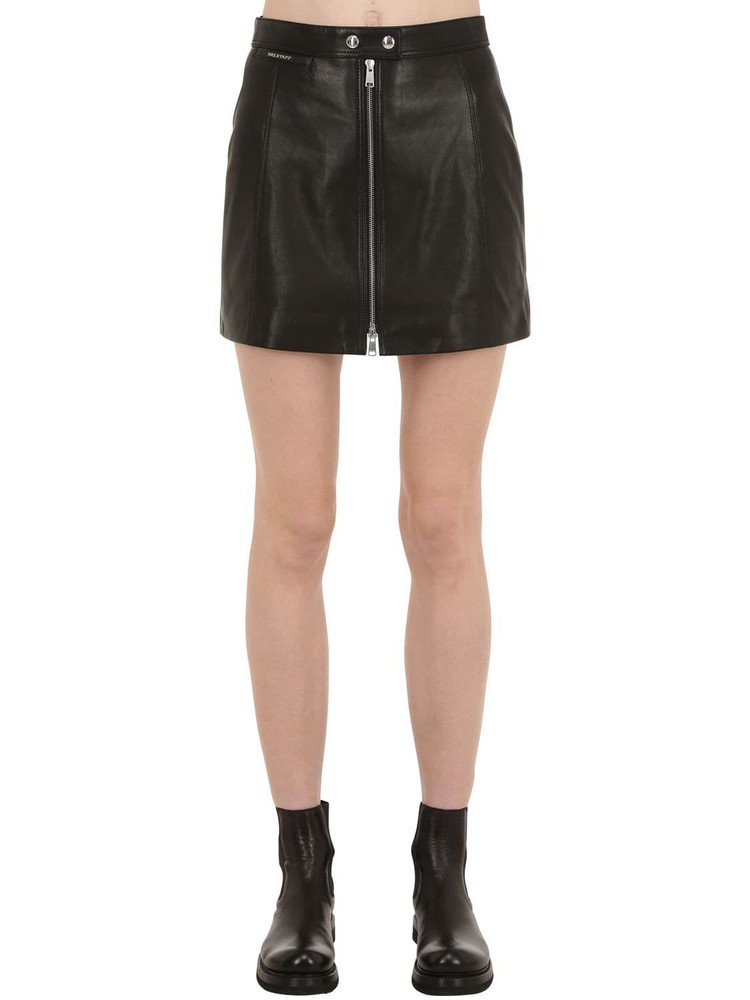 BELSTAFF Leather Biker Skirt in black