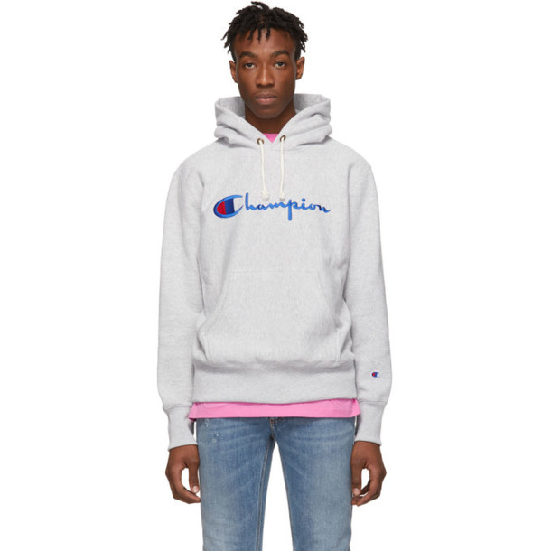 Champion Reverse Weave Grey Script Logo Hoodie