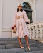 dress,midi dress,long sleeve dress,mules,handbag,woven bag,belt,beret