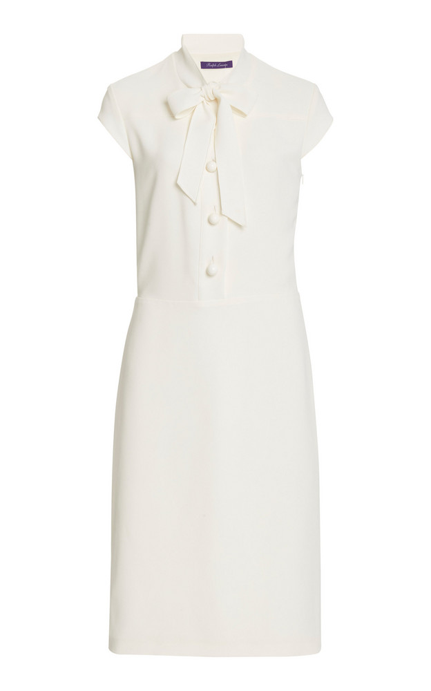 Ralph Lauren Carlisle Tie-Neck Crepe Midi Dress in white