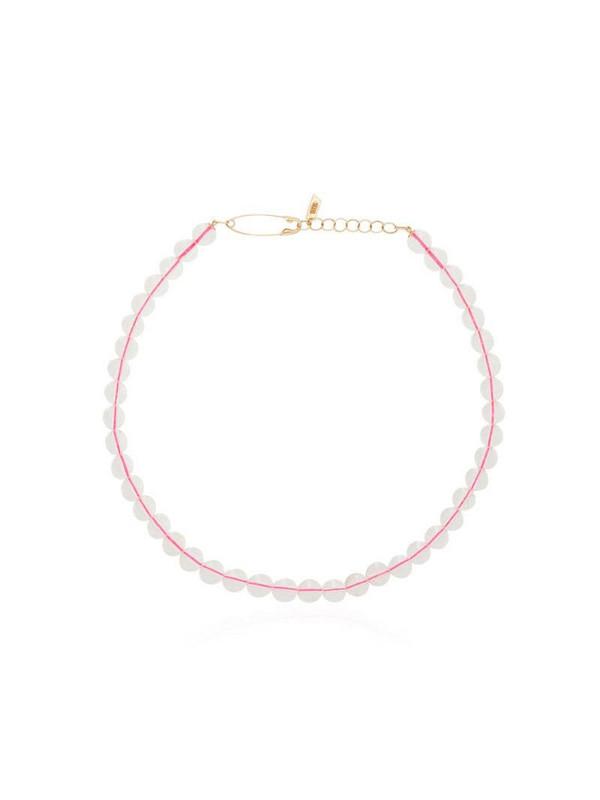 Loren Stewart 14kt gold beaded choker necklace in pink / white