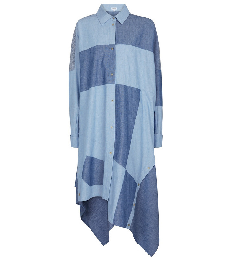 LOEWE Patchwork chambray shirt dress in blue