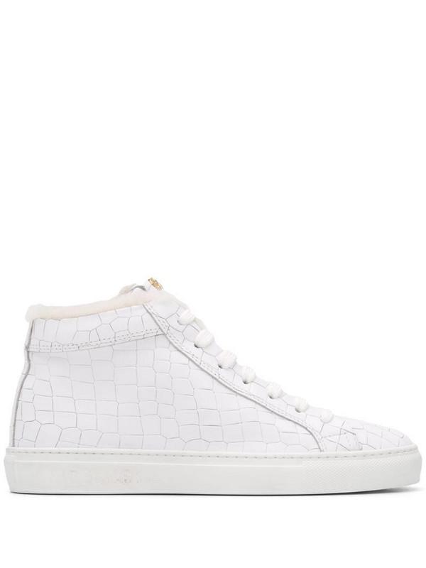 Hide&Jack crocodile-effect high-top sneakers in white