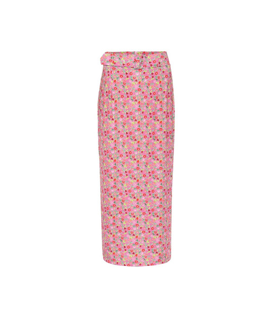 Bernadette Monica floral stretch-jersey midi skirt in pink