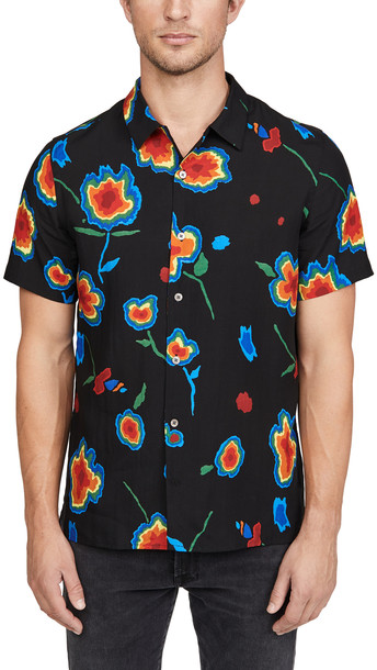 PS Paul Smith Short Sleeve Large Floral Button Down Shirt in black