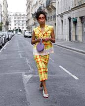 shoes,sandals,balenciaga,midi skirt,plaid skirt,yellow skirt,blazer,sleeveless,handbag