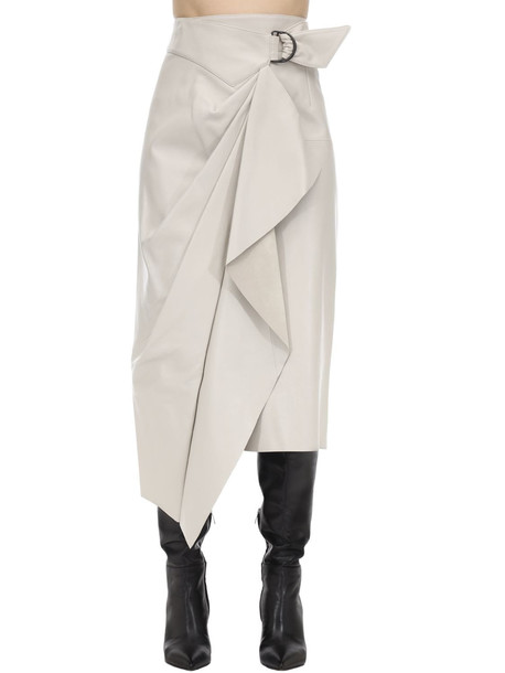 ISABEL MARANT Fiova Draped Leather Midi Skirt W/buckle in ivory