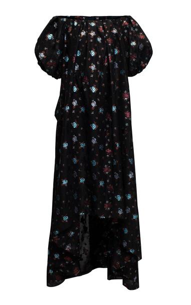 Lake Studio Off-The-Shoulder Floral-Jacquard Maxi Dress Size: 46