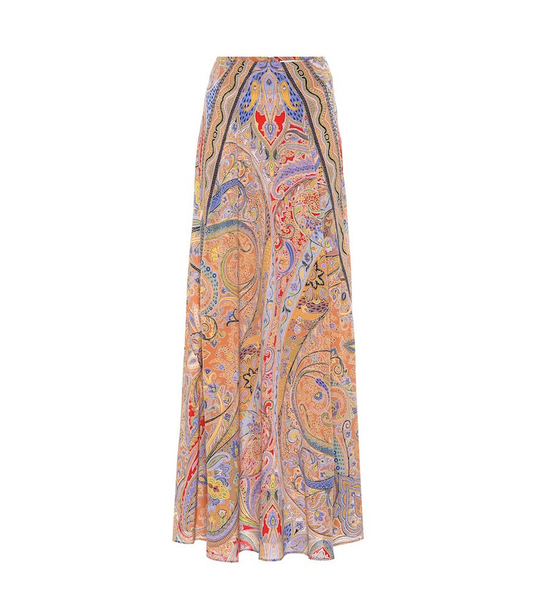 Etro Printed silk-crêpe maxi skirt