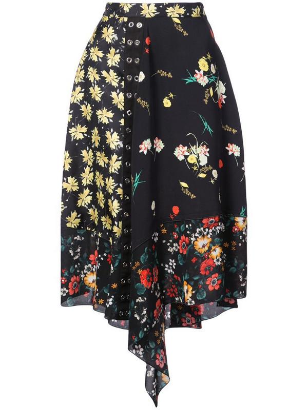 Derek Lam Asymmetrical Mixed Print Skirt in black