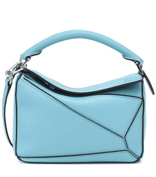 Loewe Puzzle Mini leather shoulder bag in blue