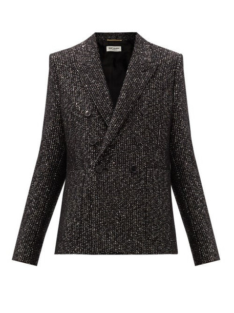 Saint Laurent - Sequinned Wool-blend Double-breasted Jacket - Womens - Black Multi