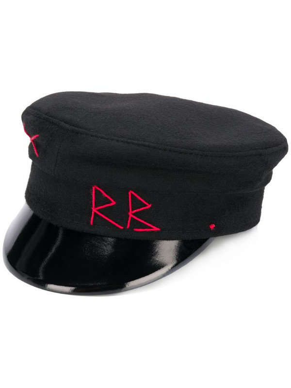 Ruslan Baginskiy logo stitch baker boy hat in black