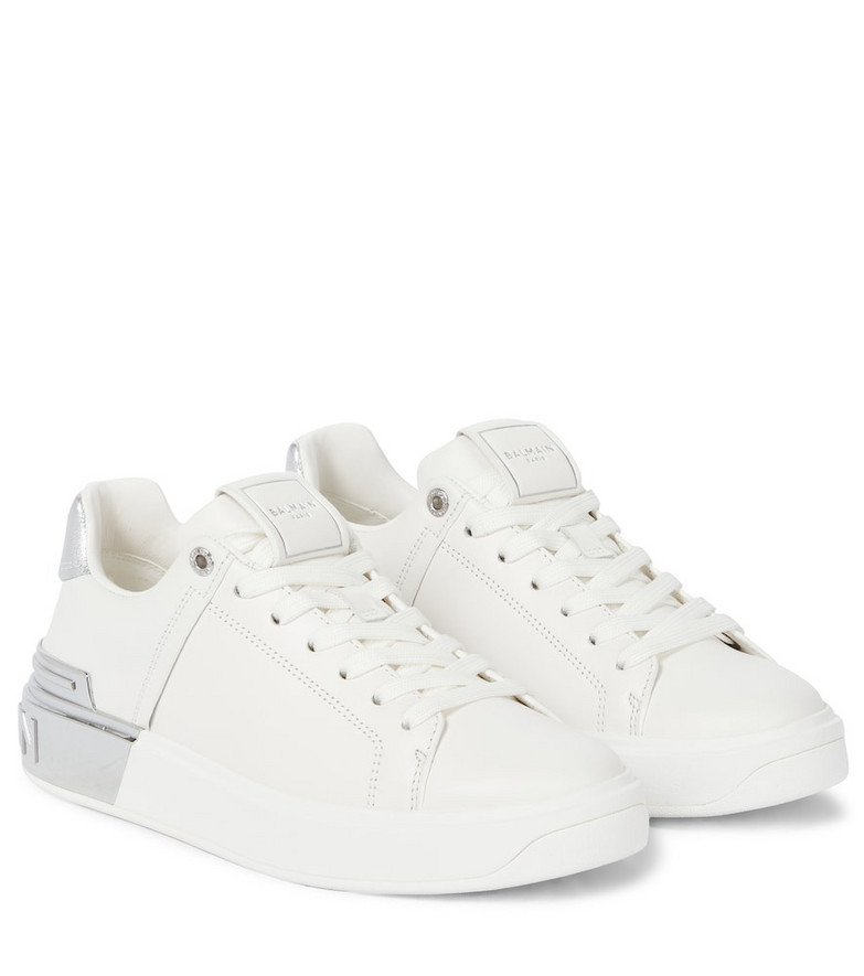 Balmain B Bold Court leather sneakers in white