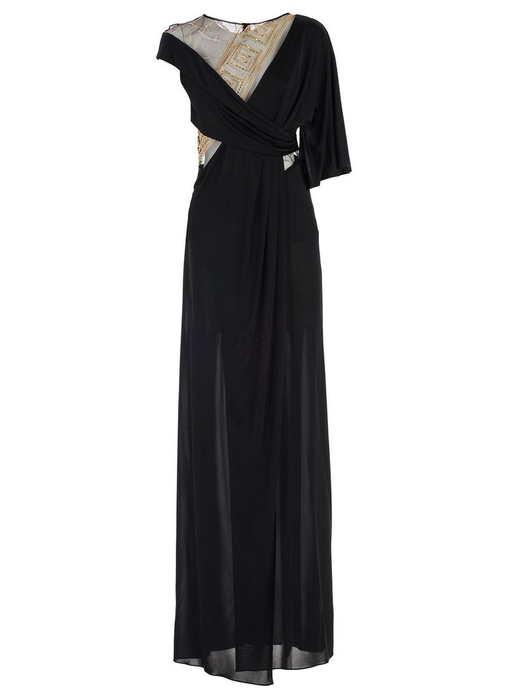 Versace Collection Dress S/s Long Flared Inserts Tulle in nero
