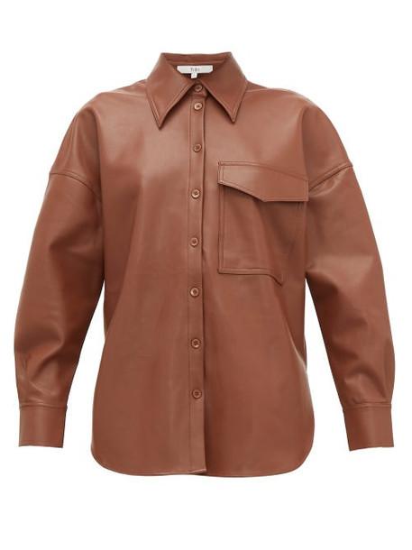 Tibi - Back Tab Faux Leather Shirt - Womens - Brown