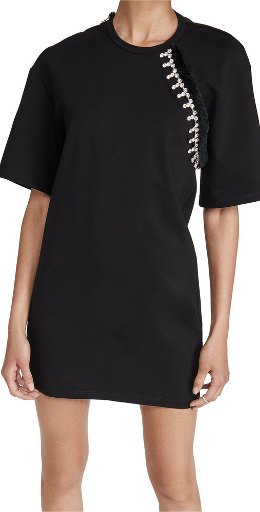 Area Convertible sleeve T Shirt Dress in black