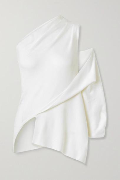 Monse - Asymmetric One-shoulder Merino Wool Top - Cream