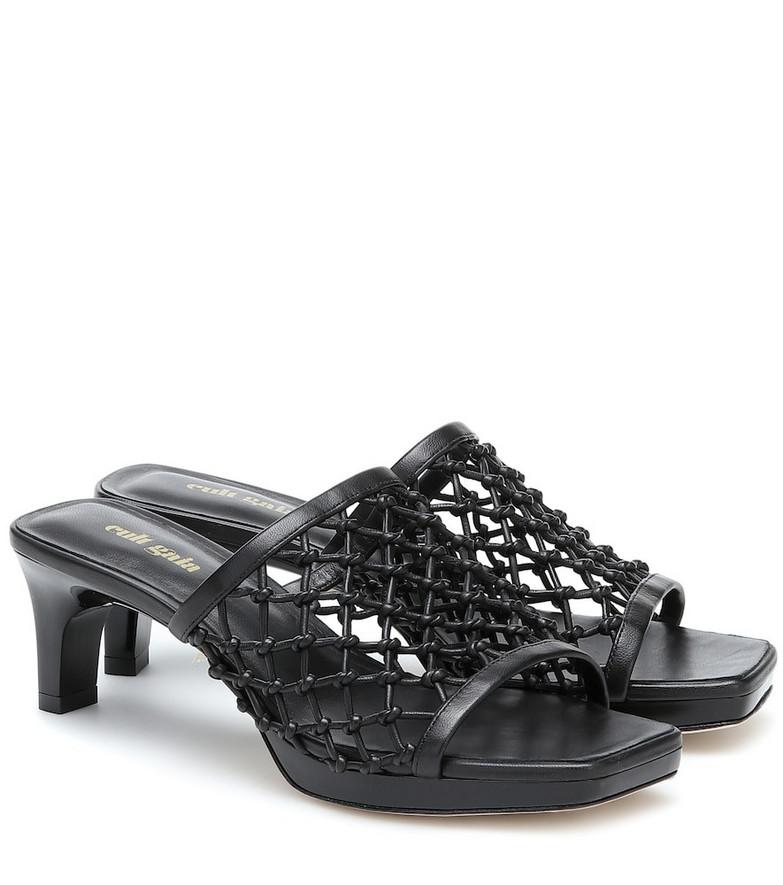 Cult Gaia Sasha woven leather sandals in black