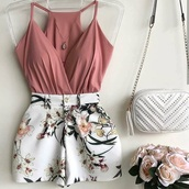top,romper,jumpsuit,shorts,flowers,lovely,white shorts,floral,cute,summer,white,pink,low cut,tank top,sleeveless,sleeveless top