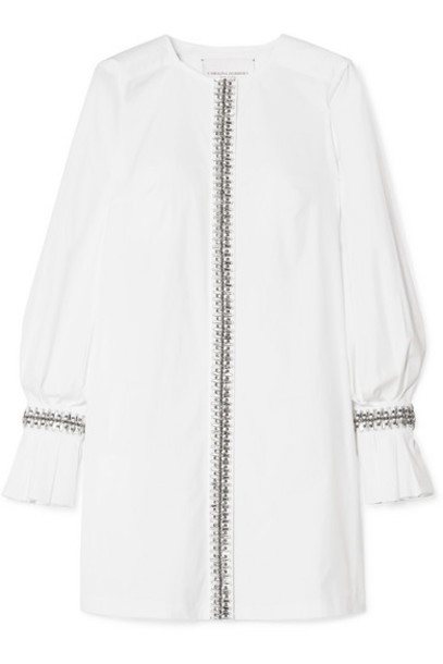 Carolina Herrera - Crystal-embellished Cotton-blend Poplin Mini Dress - White