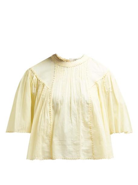 Isabel Marant étoile Algar Embroidered Cotton Blouse Womens Light Yellow