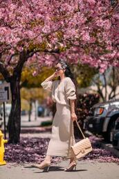 hallie daily,blogger,sweater,top,skirt,sunglasses,bag,spring outfits,chanel bag,fall outfits,knitted skirt