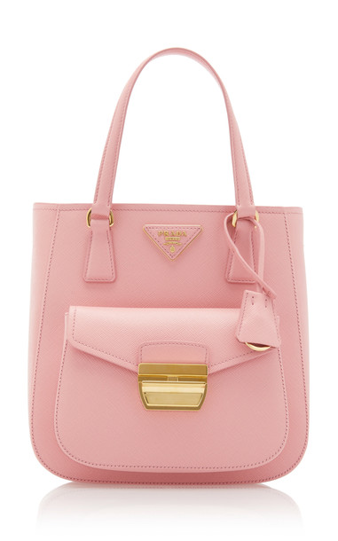 Prada Small Leather Top Handle Bag in pink