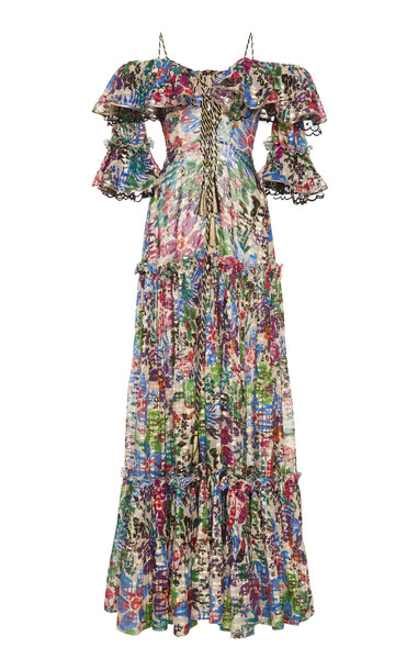 Dundas Printed Off-The-Shoulder Maxi Dress in multi