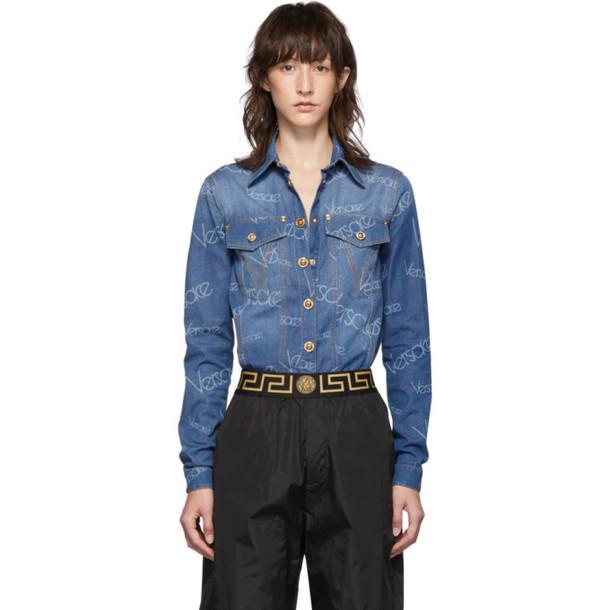 Versace Blue Denim Logo Stamped Shirt