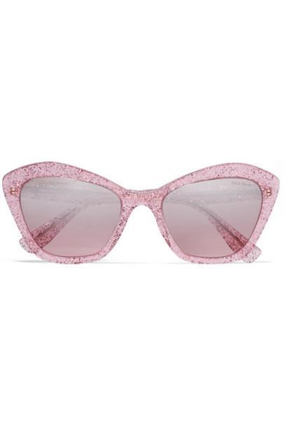 Miu Miu - Cat-eye Glittered Acetate Mirrored Sunglasses - Pink