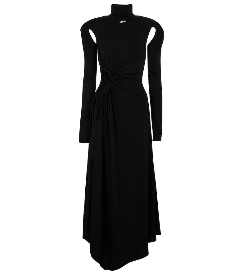 Off-White Cutout jersey midi dress in black