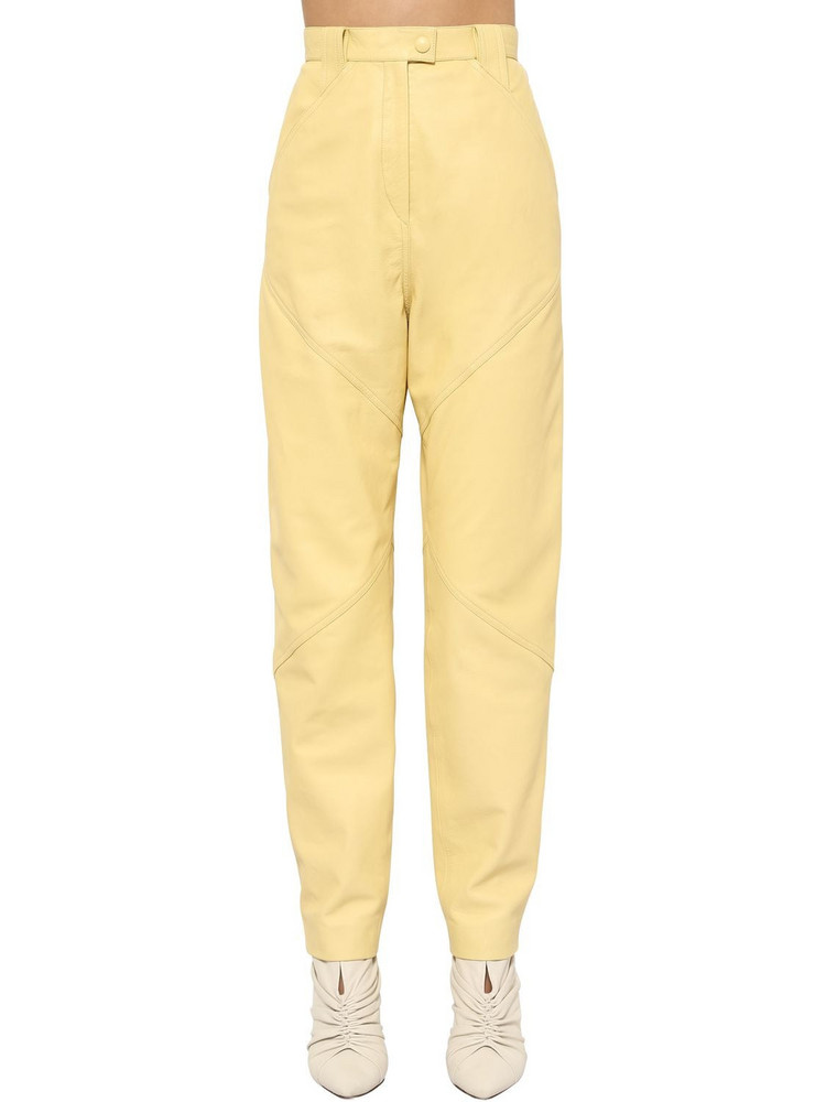 ISABEL MARANT Xenia Straight Leg Leather Pants in yellow