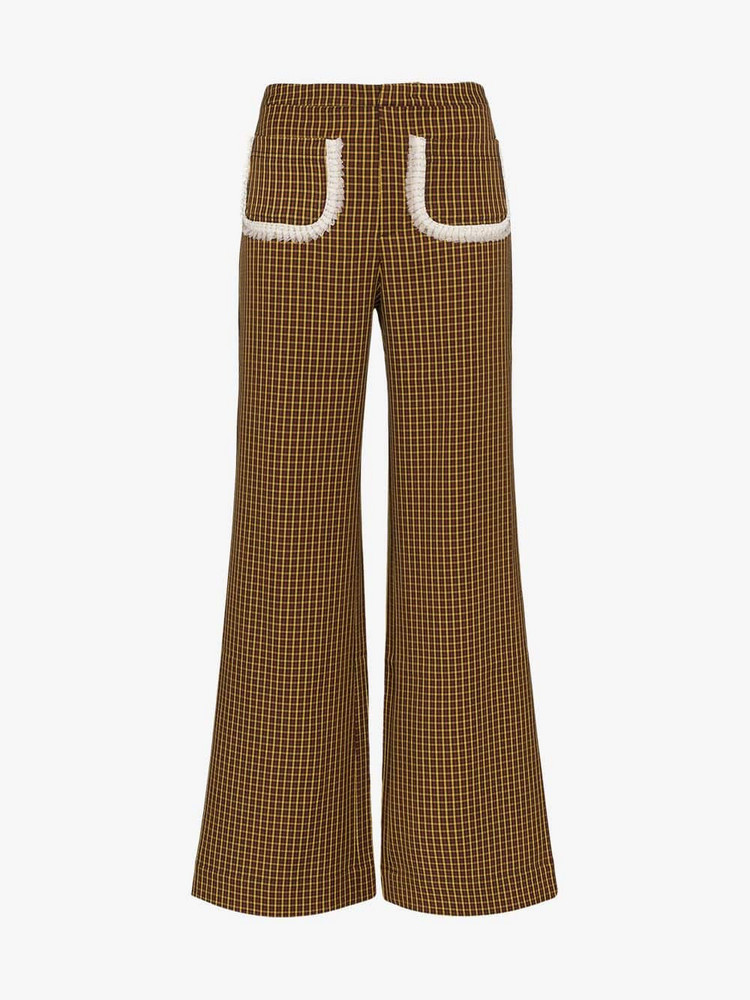 Shrimps houndstooth lace trim pocket trousers in brown