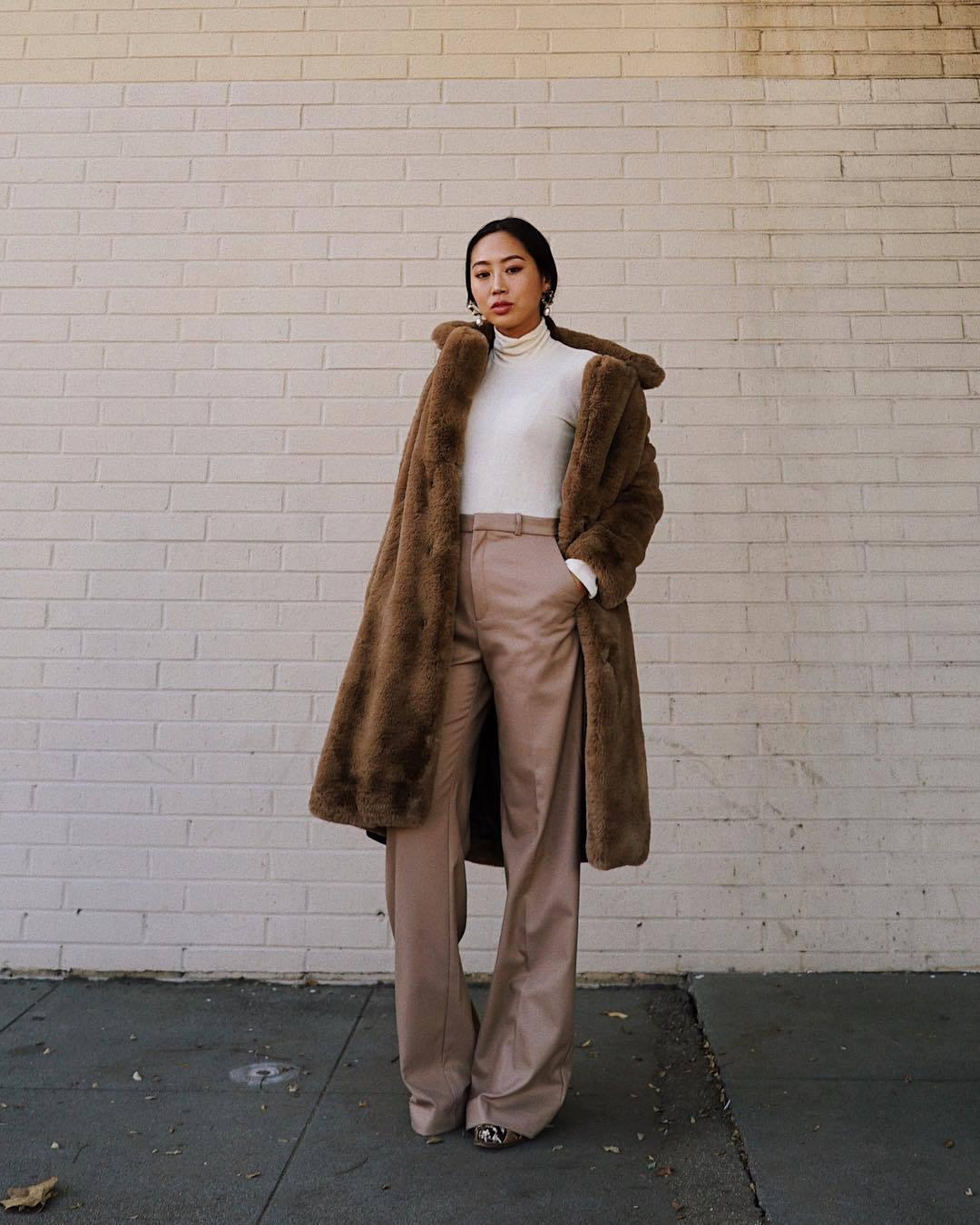 pants straight pants high waisted mango white turtleneck top teddy bear coat brown coat
