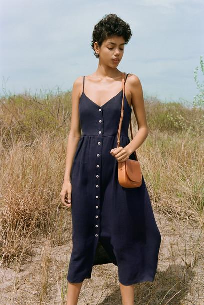 Mansur Gavriel Linen Slip Button Dress - Blu