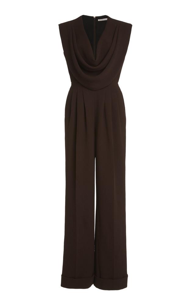 Emilia Wickstead Desma Draped Crepe Jumpsuit in brown