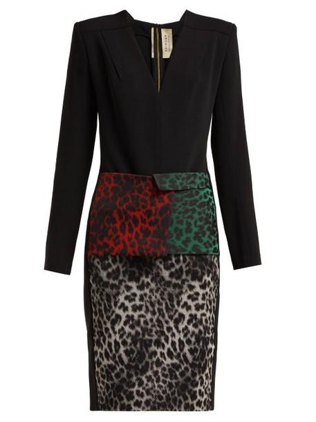 Roland Mouret - Jalore Leopard Print Cady Dress - Womens - Black Multi