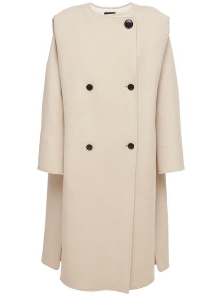 ISABEL MARANT Egelton Double Breasted Wool Blend Coat in beige
