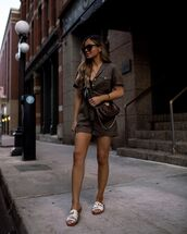romper,short sleeve,slide shoes,crossbody bag,louis vuitton bag