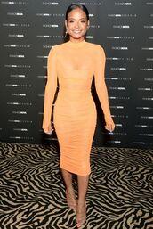 dress,orange dress,midi dress,bodycon dress,christina milian,celebrity