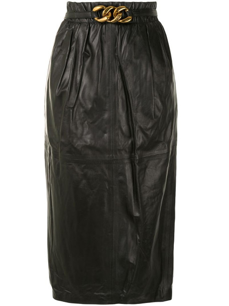 Nº21 gathered lamb skin pencil skirt in black