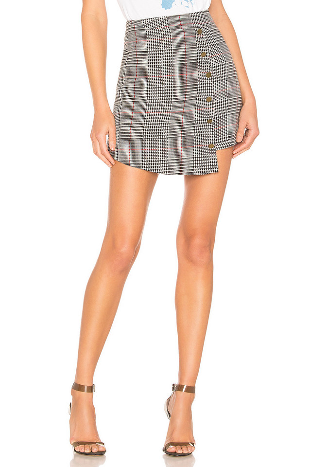About Us Tyler Plaid Mini Skirt in black