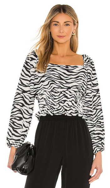 BCBGeneration Satin Back Crepe Blouse in Black,White in multi