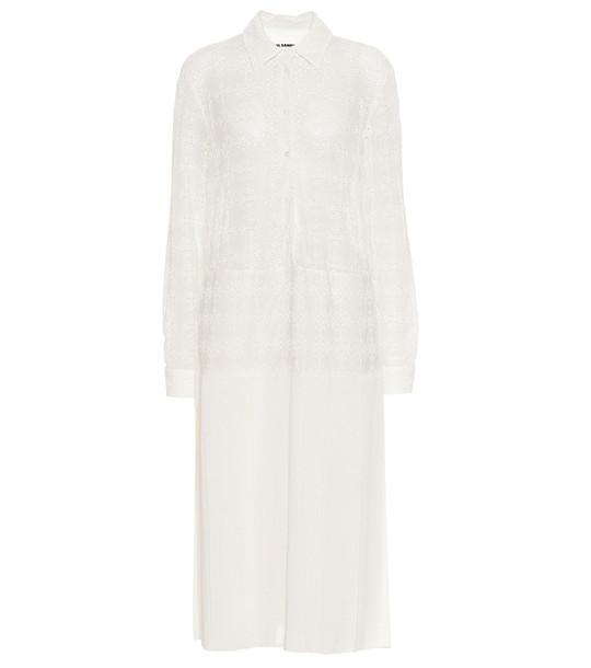 Jil Sander Eyelet and gauze shirt dress in white