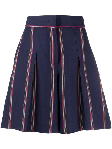 Pt01 stripe-print tailored shorts in blue