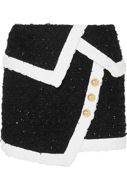 Balmain - Wrap-effect Button-embellished Metallic Tweed Mini Skirt - Black