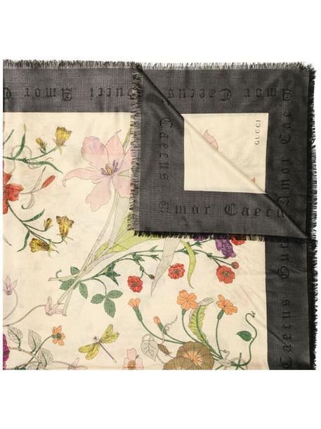 Gucci flora gothic print scarf in black