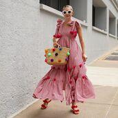 dress,maxi dress,plaid dress,sleevless dress,flat sandals,woven bag