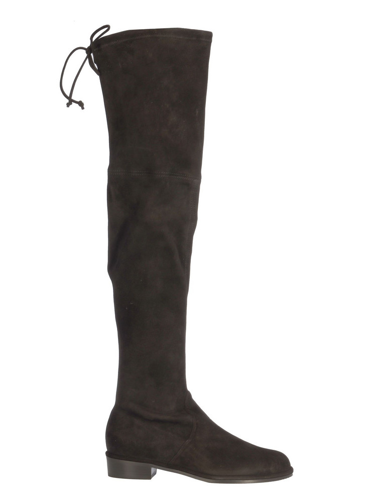 Stuart Weitzman Hi Boots With Lace On The Top/stivale Alto in black